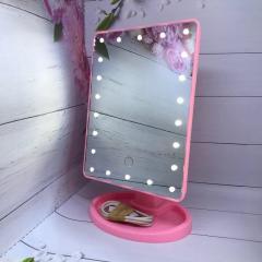 Зеркало с подсветкой для макияжа 22 led - розовое