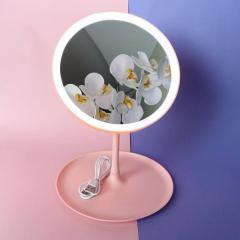 Косметическое круглое зеркало с подсветкой Розовый