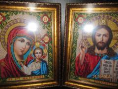 Handwork icons wedding couple Jesus Vsederzhitel