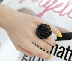 """Кольцо """"Роза"""" черный"""