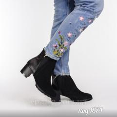 Черные ботинки с зауженым носком из комбинации