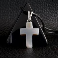 Агат халцедон светлый, серебро, крестик, 587КЛХ