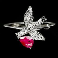 Серебряное кольцо с рубином, 1453КР