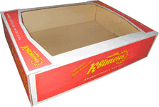 Tray from the three-layered corrugated cardboard