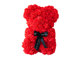 Красивый мишка из латексных 3D роз 25 см с лентой