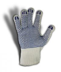 Knitted gloves PE-65% cotton 35% sealed with PVC