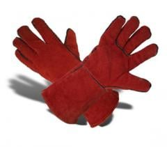 Gloves of welders with gaiters leather...
