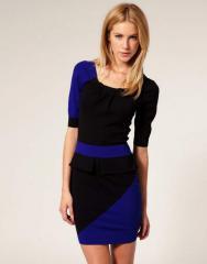 Черное платье Karen Millen с синими вставками
