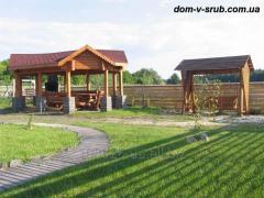 The furniture is wooden garden