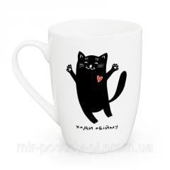 Чашка 360мл Кот черный