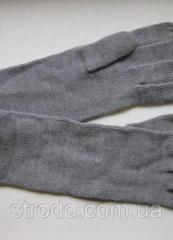 Превосходные удлиненные вязанные перчатки серые