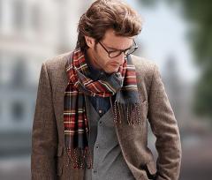 Теплый стильный мужской шарф в клетку Tchibo