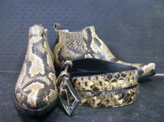 Cowboy's semi-boots men's natural python
