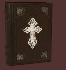 The orthodox prayer book with a cross in filigran