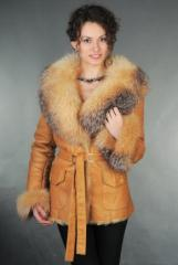 Female sheepskin coat of D-49DZhV cognac sale
