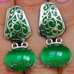 Серебряные серьги родированные с улекситом зеленым