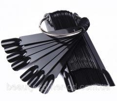 Палитра-веер для нанесения лаков, 50 типс чёрная