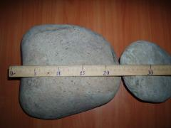 Pebble boulder of river from 15 to 30 cm. Gray,