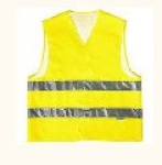 Vest alarm with light-reflective tape, yellow,