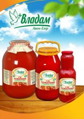 Tomato juice natural TM Vladam