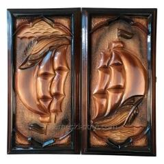 Handmade carved wooden women's bag, STRYI, 25 * 19