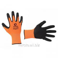 Перчатка белая вязанная синтетическая, покрытая