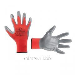 Перчатка красная вязанная синтетическая, покрытая