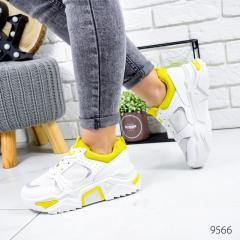 Кроссовки женские May белые + желтый 9566