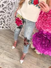 Стильные короткие женские джинсы с объмной