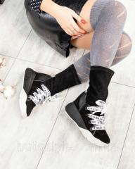 Женские черные спортивные ботинки натуральный
