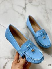 Женские голубые мокасины эко-кожа