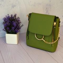 Компактный сумка-рюкзак 2 в 1 со стильной металлической цепочкой Зеленый