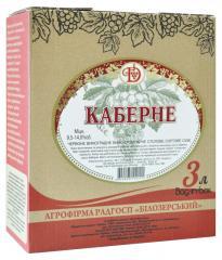 """Вино пакетированное 3л """"Кабарне Белозерское""""   полусладкое, красное"""