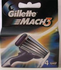 Edges of Gillette Mach3 4's, four cartridges