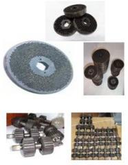 Matrixes for press granulators, rollers