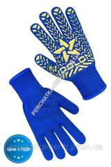 Перчатки трикотажные синие с ПВХ точкой