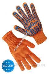 Перчатки Seven трикотажные оранжевые с ПВХ точкой