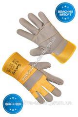 Перчатки рабочие комбинированные ткань / кожа