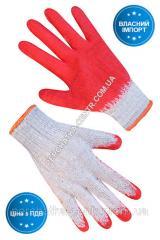 Перчатки хлопчатые белые с красным / синим