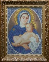 Set for embroidery by beads Madonna and the child