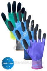 Перчатки синтетические синие с бело-черным...