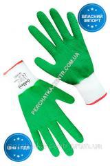 Перчатки синтетические белые с зеленым...