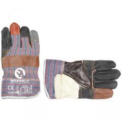Перчатка комбинированная из кожи и ткани