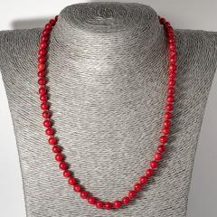 Коралл красный, Ø6 мм., бусы шнурок, 121ОК