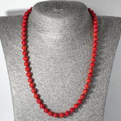 Коралл красный, Ø7 мм., бусы, 123ОК