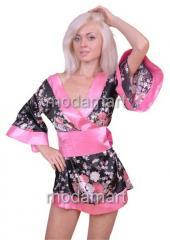 Халатик кимоно с поясом розового цвета L2218