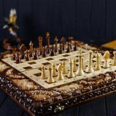 Деревянные шахматы-нарды ручной работы, ...
