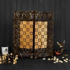 Шахматы,  шашки и нарды 3в1 ручной работы, ...