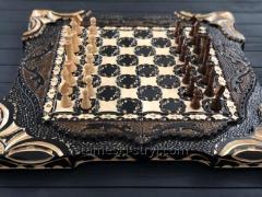 Деревянные шахматы,  шашки и нарды 3в1...