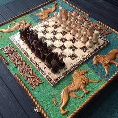 Большие шахматы 3в1 из дерева ручной работы,...